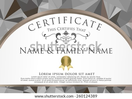 gray low poly style certificate graphic design template. - stock vector