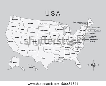 Usa Map States Stock Vector Shutterstock - Gray map us