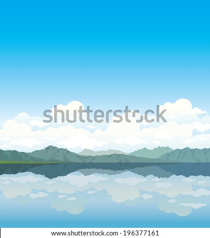 Gray mountains and group of clouds with reflection at the lake on a blue sky. Nature vector. - stock vector