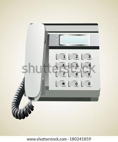 Gray office telephone - stock vector