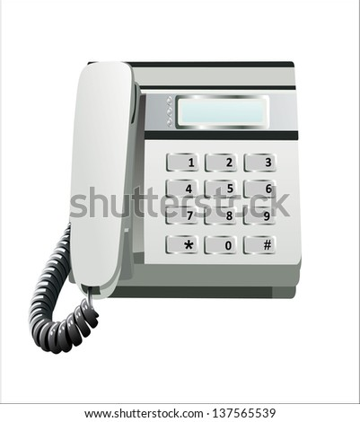 Gray office telephone isolated on a white background - stock vector