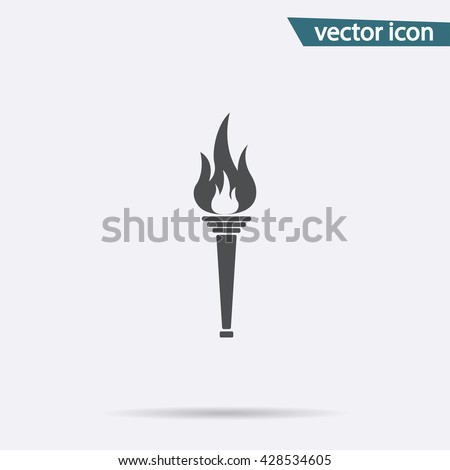 Gray Olympic Torch flame icon isolated on background. Modern simple Monochrome fire symbol in trendy style for your website, web button and mobile develop app. Vector logo illustration