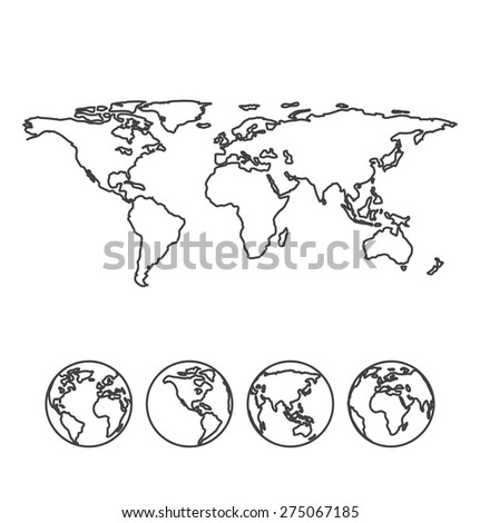 Gray outline map of the world with globe icons. Vector illustration