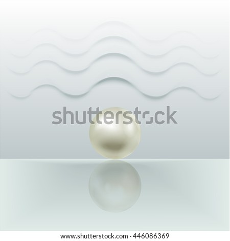 Gray pearl, isolated on a greenish gray background with waves. Vector illustration - stock vector