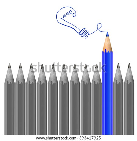 Gray pencils and one blue pencil. Idea and  individuality concept. VECTOR illustration  - stock vector