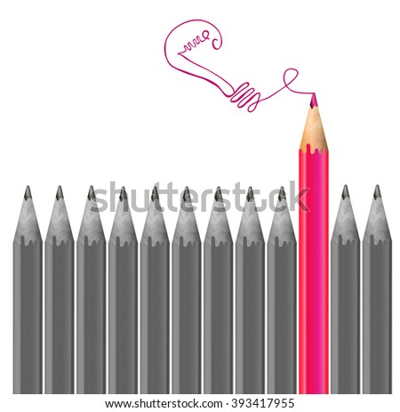 Gray pencils and one pink magenta pencil. Idea and  individuality concept. VECTOR illustration  - stock vector