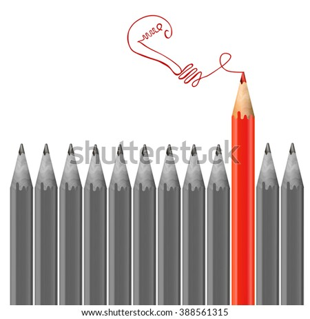 Gray pencils and one red pencil drawing light bulb. Idea and  individuality concept. VECTOR illustration - stock vector