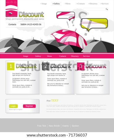 Gray pink site, with umbrellas and shouting - stock vector