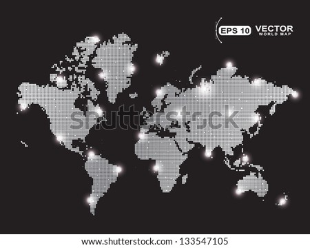 gray pixel world map with spot lights effect isolated on black background  - stock vector
