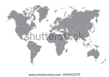 Blue world map on white background vectores en stock 595831553 gray political world map on a white background gumiabroncs Image collections