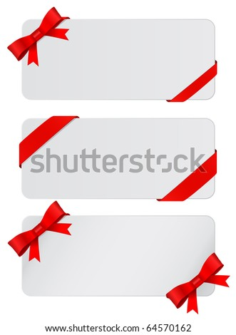 gray postcard with bow - stock vector