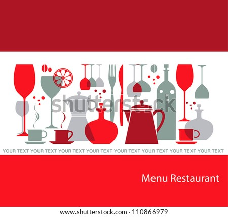 Gray red restaurant menu - stock vector