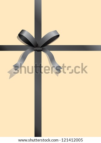 Gray ribbon with a bow. Vector illustration.