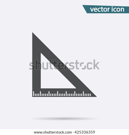 Gray Ruler tool icon isolated on background. Modern simple flat triangle sign. Math, Business, internet concept. Trendy school vector symbol, website design, web button, mobile app. Logo illustration  - stock vector