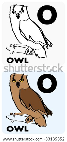 Gray Scale And Color Illustrations Of A Letter O Owl