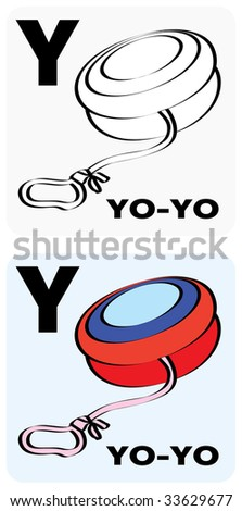 "Gray-scale and color illustrations of a letter ""Y"" (yo-yo) - the twenty-fifth letter of the English alphabet. - stock vector"
