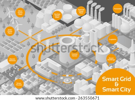 Gray Scale City and Smart Grid image illustration, vector - stock vector