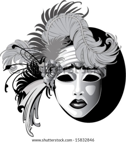 gray scale feathered ornamented sad face Venetian drama mask vector illustration