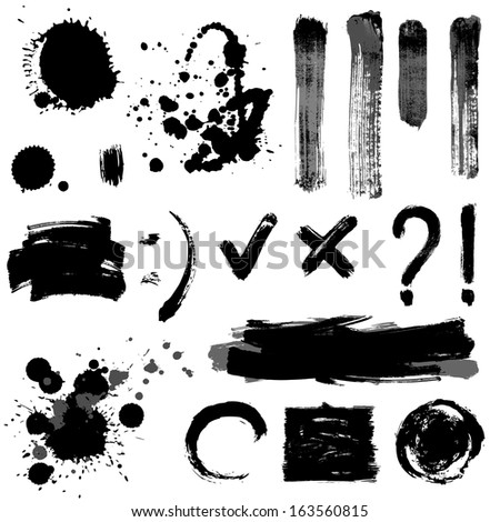 Gray scale signs and blots - stock vector