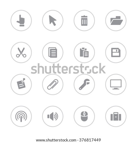 gray simple flat computer and technology icon set 3 with circle frame for web design, user interface (UI), infographic and mobile application (apps) - stock vector