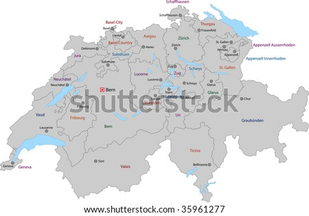 Gray Switzerland Map States Main Cities Stock Vector (Royalty Free ...