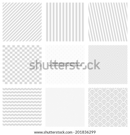 Gray texture, set of seamless vector patterns - stock vector