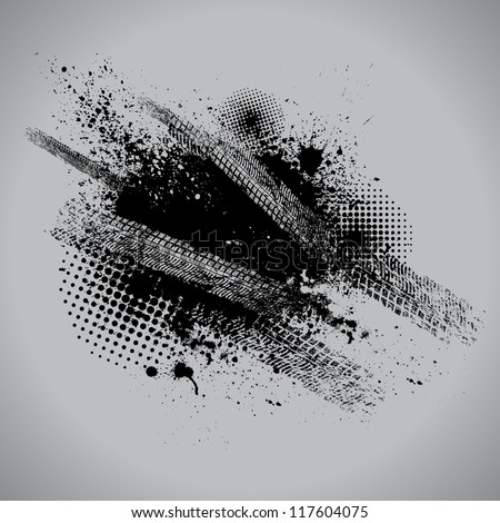 Gray tire track background with grunge and halftone - stock vector