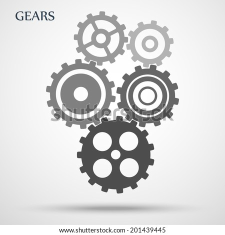 gray toothed gears ( cogs ) is meshed on gray background. vector illustration eps10 - stock vector