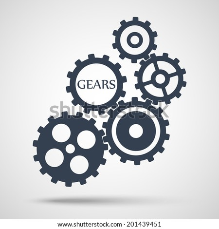 gray toothed gears (cogs) is meshed on gray background. vector illustration eps10 - stock vector