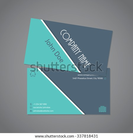 Gray turquoise color combo business card stock vector 337818431 gray turquoise color combo business card template with white stripe colourmoves Choice Image