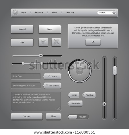 Gray UI Controls Web Elements 2: Buttons, Comments, Sliders, Message Box, Preloader, Loader, Tag Labels, Unlock - stock vector