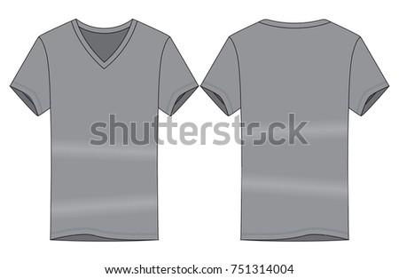 Gray V Neck T Shirt Template Stock Vector 751314004 - Shutterstock