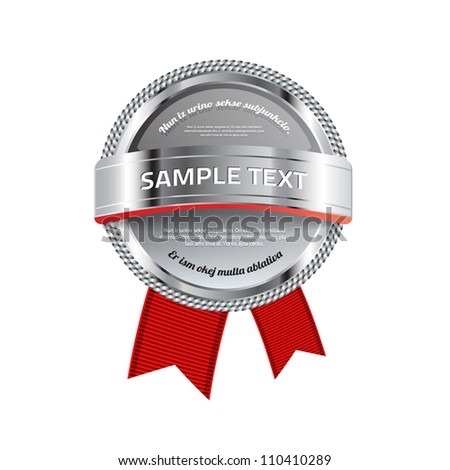 Gray vector glossy glass round badge / banner with metallic decoration and red ribbons - stock vector