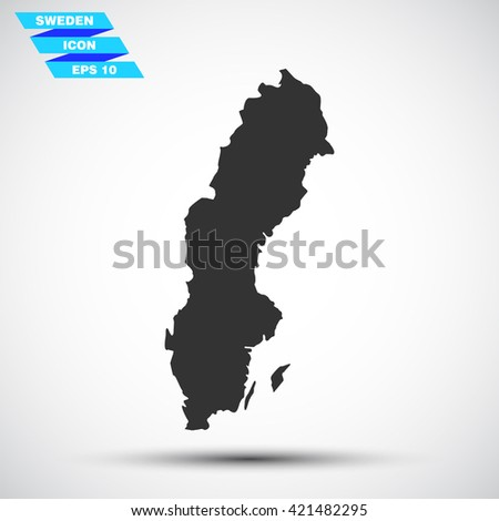 gray vector illustration icon map state sweden on gradient background - stock vector