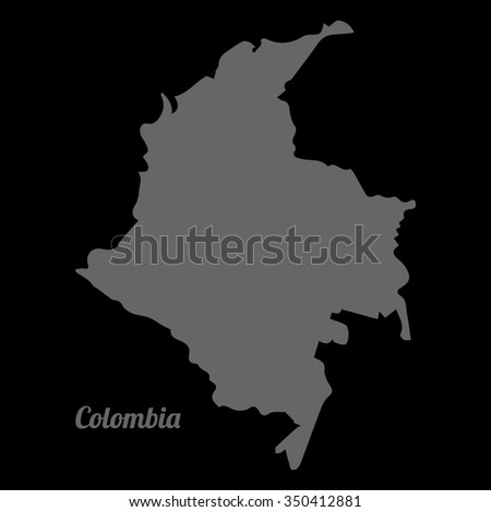 Gray vector map Colombia. Gray on black background. Vector Illustration with an inscription Colombia. EPS Illustration. - stock vector