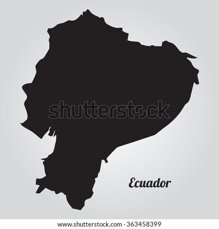 Gray vector map Ecuador. Isolated vector Illustration. Black on Gradient background. EPS Illustration with an inscription Ecuador. - stock vector