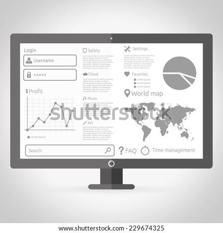 Gray vector modern flat template on screen - stock vector