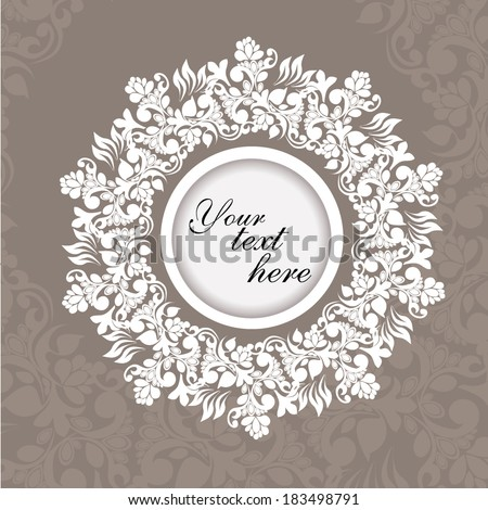 gray vintage delicate flowers white round frame. Vector - stock vector