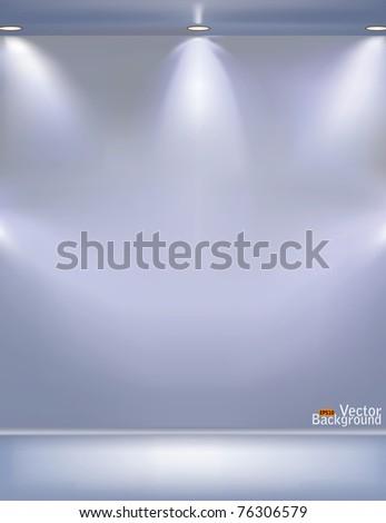 Gray wall illumination vector - stock vector