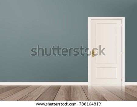 Gray wall with white door Vector