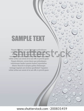 gray water droplets background  with place for your text - stock vector