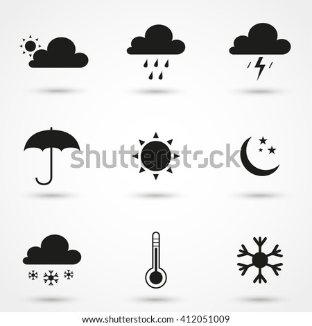 Gray Weather icon set isolated on background. Modern simple flat sign. Business, internet concept. Trendy monochrome vector symbol for web site design or button to mobile app. Vector logo illustration