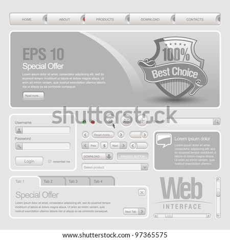 Gray Website Design Elements: Buttons, Form, Slider, Scroll, Icons, Tab, Menu, Navigation Bar - stock vector