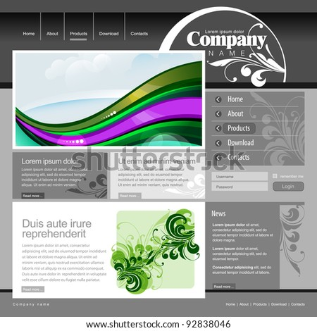Gray Website Template with floral elements. 960 Grid. - stock vector