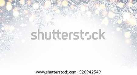 Gray winter shining background with snowflakes. Vector illustration.