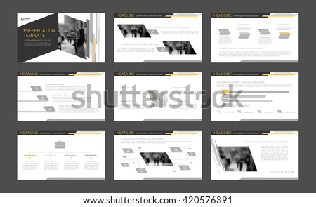 Gray with yellow elements abstract templates. Presentation templates. Use in presentation, flyer, corporate report, marketing, advertising  - stock vector