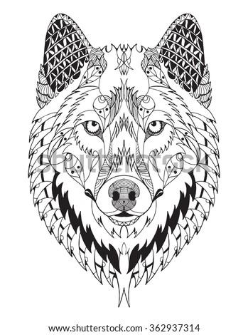 Gray wolf head zentangle stylized vector stock vector for Zentangle per bambini