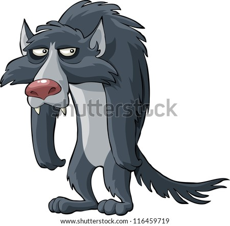 Gray wolf on a white background vector illustration - stock vector