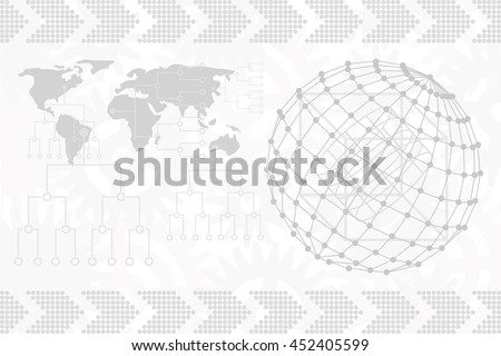 Gray world map and globe vector. Globalization concept.