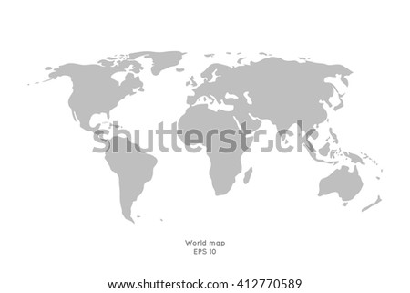 Gray world map isolated on white background. Stock vector. - stock vector